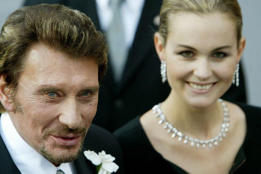 Johnny et Laeticia au mariage de Clotilde Courau à Rome, septembre 2003