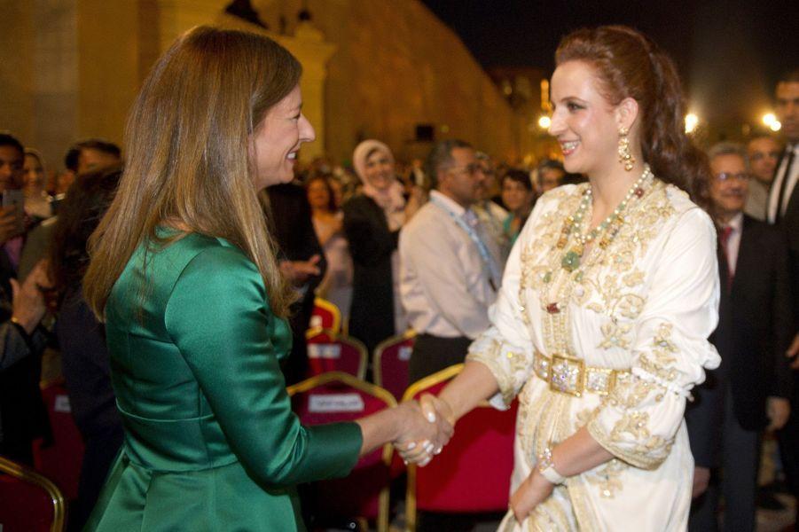 Lalla Salma, l'épouse de Mohammed VI, et Anne Gravoin, vendredi 22 mai.