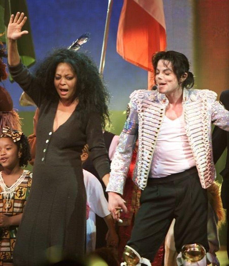 Avec Diana Ross en avril 2002.