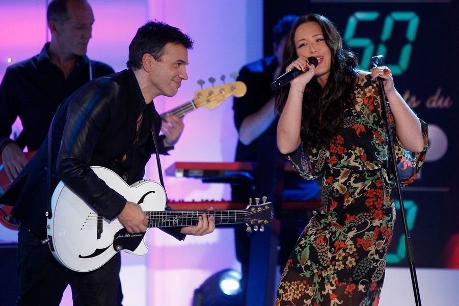 Natasha St Pier et Jean-Félix Lalanne lors de l'enregistrement de «Vivement Dimanche» le 8 octobre 2014
