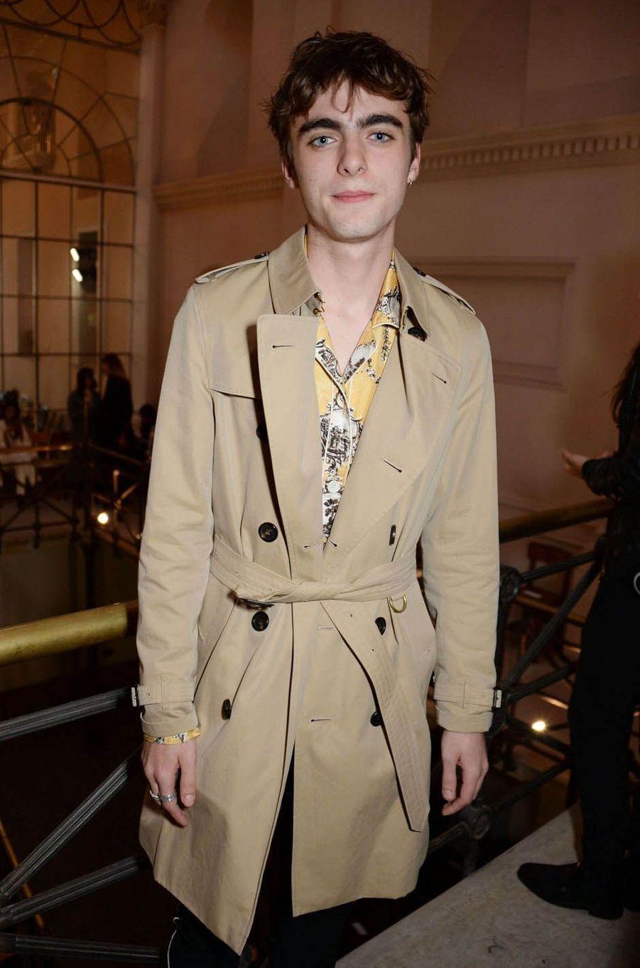 Lennon Gallagherau défilé Burberry à la Fashion Week de Londres, le 17 septembre 2017.