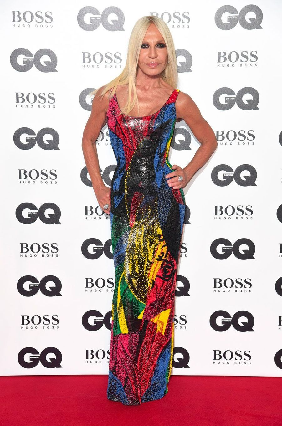 "Donatella Versace à la soirée ""GQ Men of the Year"", le 5 septembre 2018 à Londres"