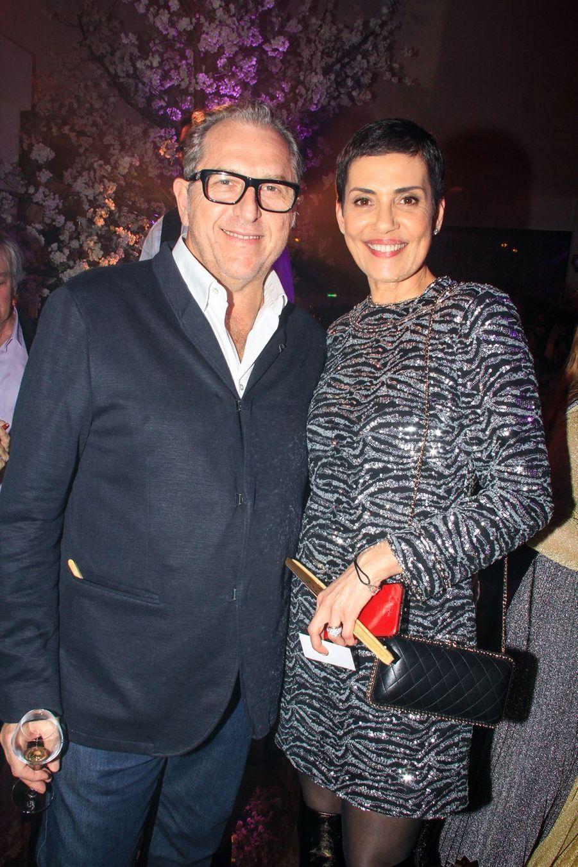 """Cristina Cordula et son mari Frédéric Cassinpendant la soirée """"Kenzo Takada's Birthday Night"""" à Paris, le 28 février 2019"""