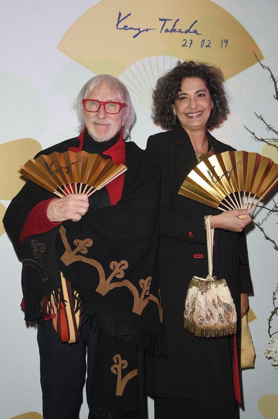 """Pierre Richard et sa femme Ceyla Lacerda pendant la soirée """"Kenzo Takada's Birthday Night"""" à Paris, le 28 février 2019"""