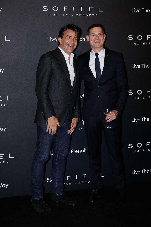 """Yannick Alléno et Steven Taylorà la soirée """"La nuit by Sofitel"""" au pavillon Cambon à Paris, le 28 février 2019"""