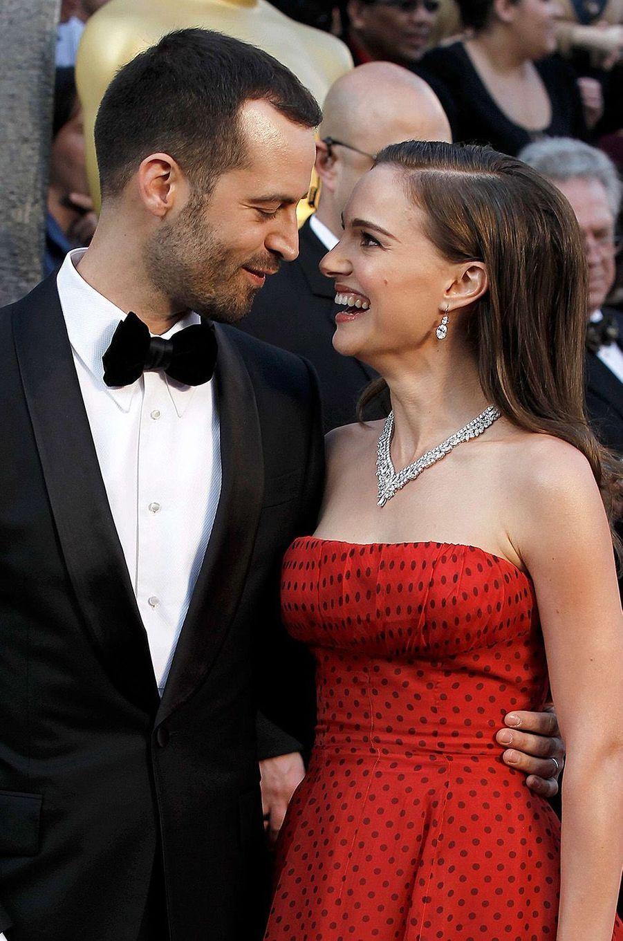 Natalie Portman et Benjamin Millepied à la soirée des Oscars, 2012.