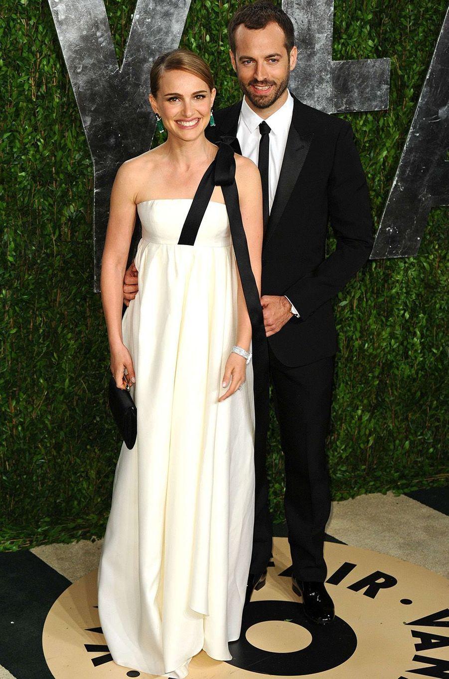 Natalie Portman et Benjamin Millepied à la Vanity Fair Party, février 2013.
