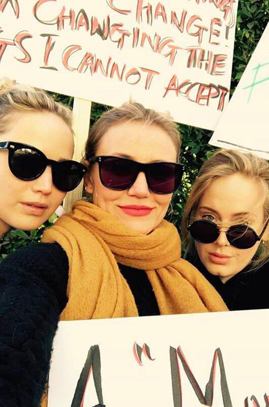 Jennifer Lawrence, Cameron Diaz et Adèle à la Marche des Femmes
