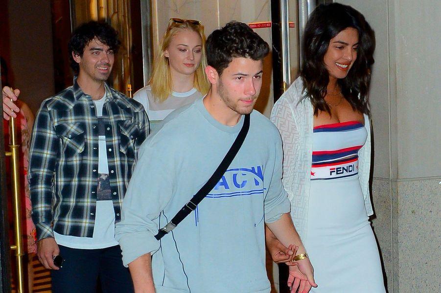 Sophie Turner, Joe Jonas, Priyanka Chopra et Nick Jonas à l'US Open, à New York le 4 septembre 2018
