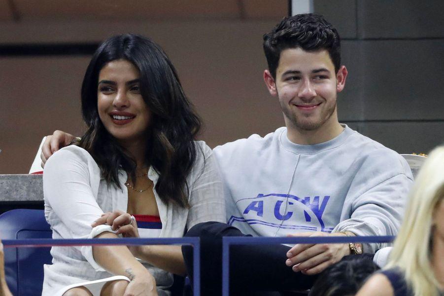 Priyanka Chopra et Nick Jonas à l'US Open, à New York le 4 septembre 2018
