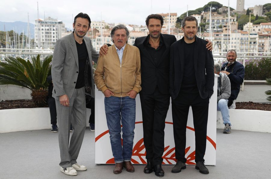 Michael Cohen, Daniel Auteuil, Nicolas Bedos et Guillaume Canetlors du photocall du film «La Belle Epoque» à Cannes le 21 mai 2019