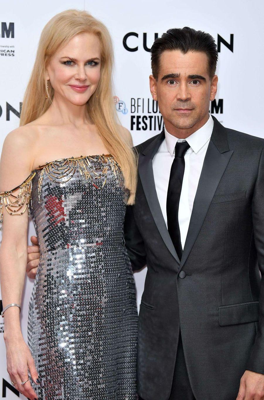 """Nicole Kidman et Colin Farrellà l'avant-première de """"Mise à mort du cerf sacré"""" à Londres, le 12 octobre 2017."""