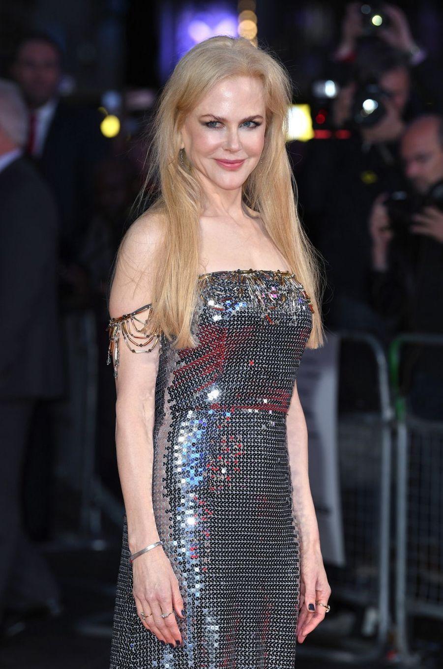 """Nicole Kidmanà la première de """"Mise à mort du cerf sacré"""" à Londres, le 12 octobre 2017."""