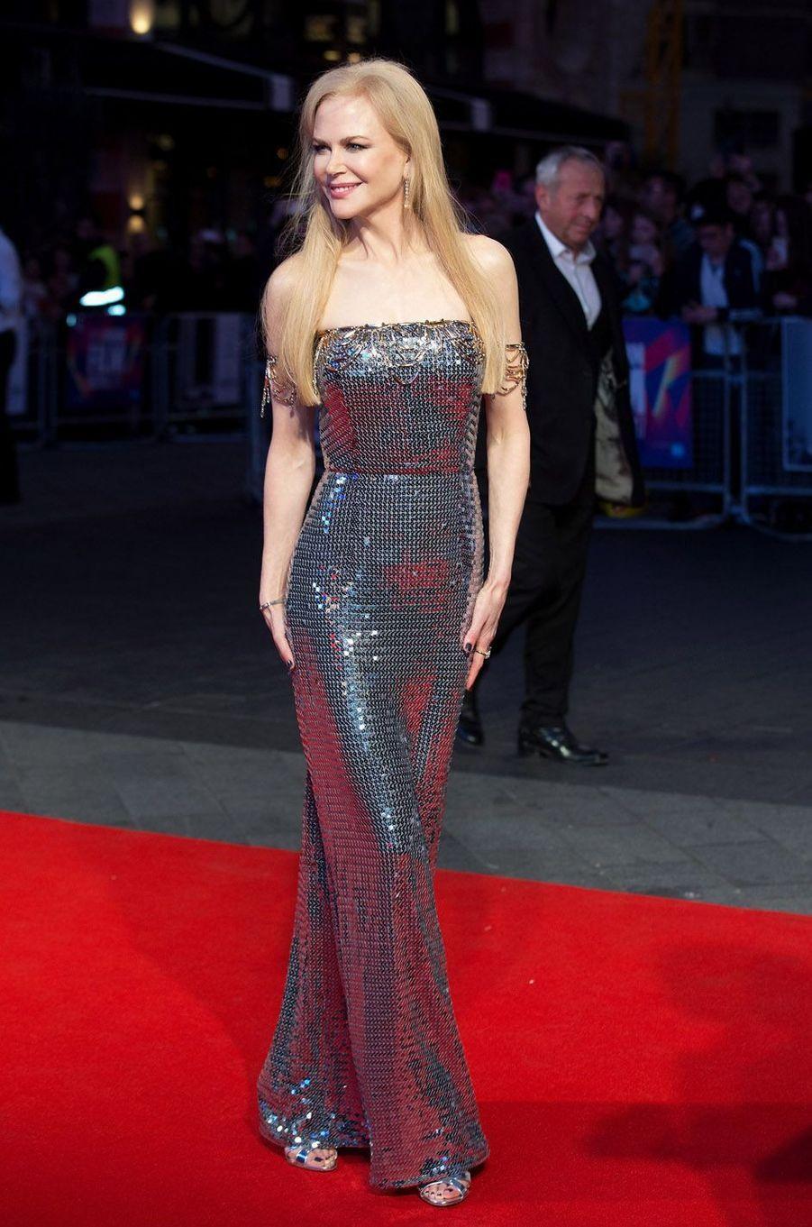 """Nicole Kidmanà la projection de """"Mise à mort du cerf sacré"""" à Londres, le 12 octobre 2017."""