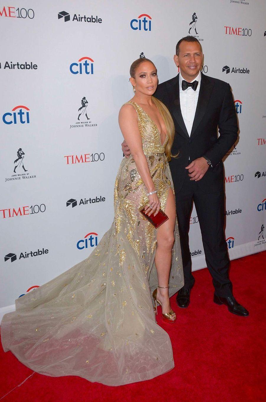 """Jennifer Lopez et Alex Rodriguez à la soirée """"Time 100"""" à New York, mardi 24 avril"""