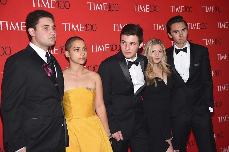 """Les activistes, survivants de la fusillade de Parkland, à la soirée """"Time 100"""" à New York, mardi 24 avril"""