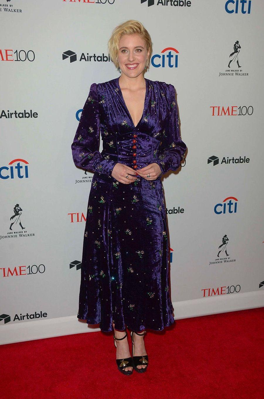 "Greta Gerwig à la soirée ""Time 100"" à New York, mardi 24 avril"