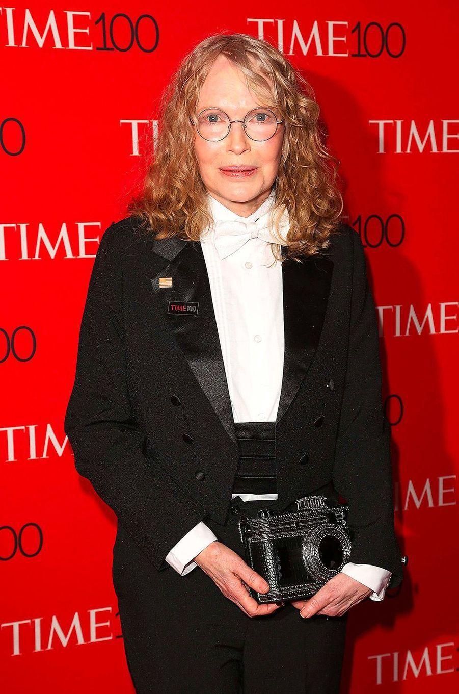 "Mia Farrow à la soirée ""Time 100"" à New York, mardi 24 avril"