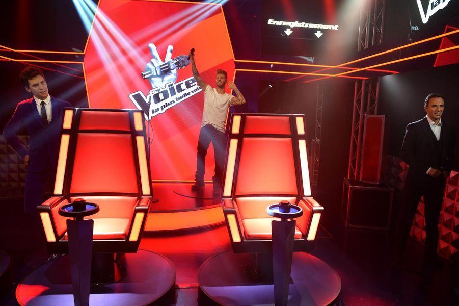 """Le décor de l'émission """"The Voice"""" au Musée Grévin à Paris."""