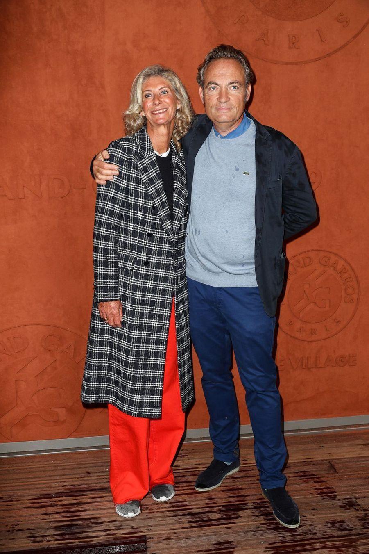 Gilles Cohen et sa compagne à Roland-Garros le 5 juin 2019