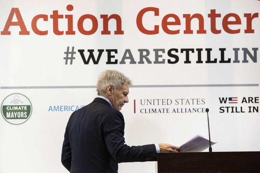 Harrison Ford lors de la COP25 à Madrid le 10 décembre 2019