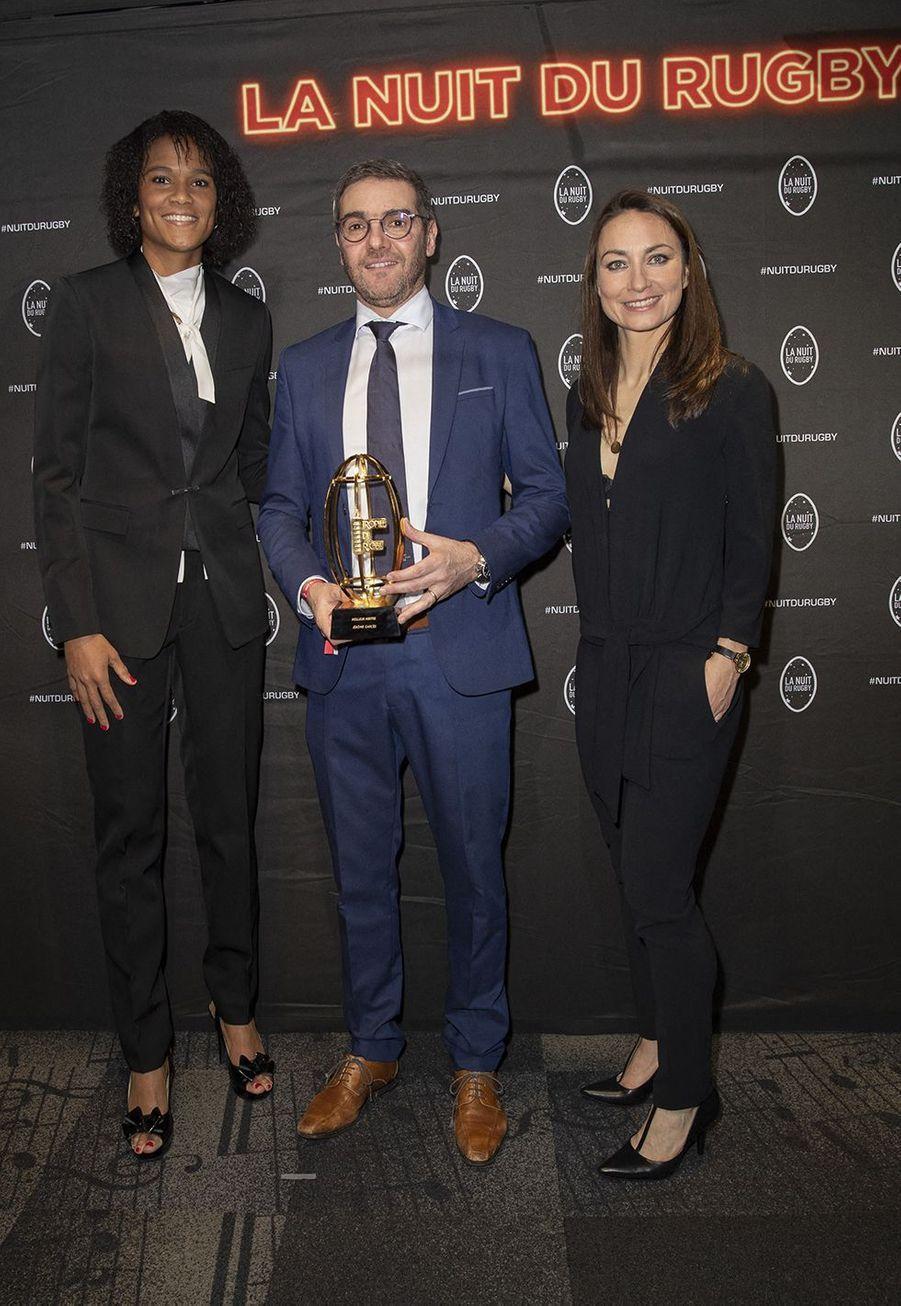 Wendie Renard, Jérôme Garcès et Gaëtane Thineyà la 16e Nuit du Rugby à Paris le 25 novembre 2019