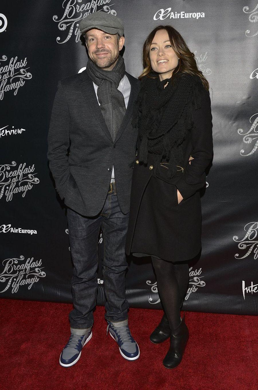 Jason Sudeikis et Olivia Wilde à une représentation de la pièce «Breakfast At Tiffany's» à Broadway, New York, en mars 2013