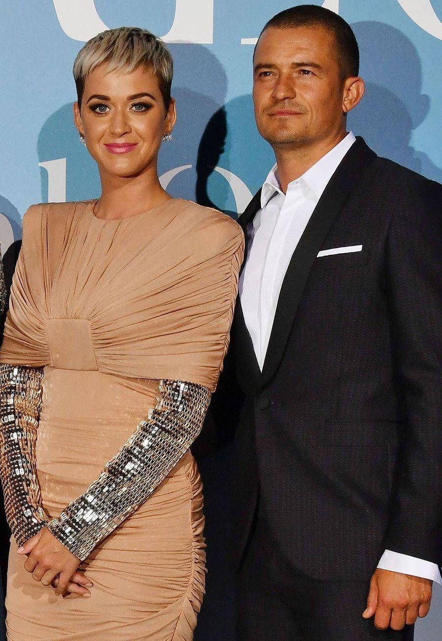 """Katy Perry et Orlando Bloomlors de la 2ème édition du """"Monte-Carlo Gala for the Global Ocean"""" à l'opéra de Monte-Carlo à Monaco, le 26 septembre 2018"""