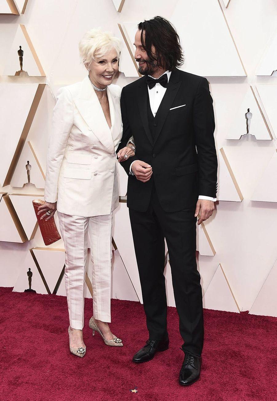 Keanu Reeves et sa mère Patricia aux Oscars à Los Angeles le 9 février 2020