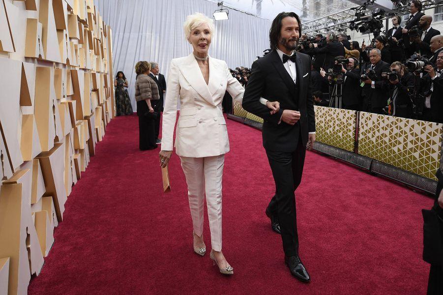 Keanu Reeves et sa mère Patriciaaux Oscars à Los Angeles le 9 février 2020