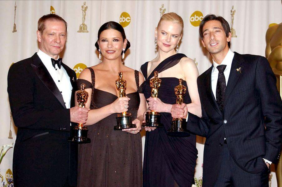 """2003 : Chris Cooper (meilleur second rôle dans """"Adaptation""""), Catherine Zeta-Jones (meilleure second rôle dans """"Chicago""""), Nicole Kidman (meilleure actrice pour """"The Hours"""") et Adrien Brody (meilleur acteur dans """"Le Pianiste"""")"""