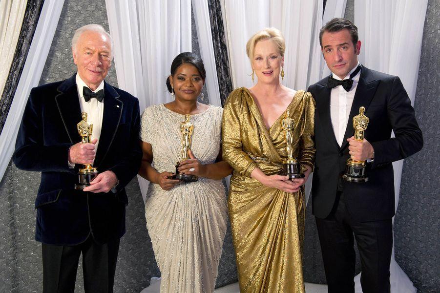 """2012 : Christopher Plummer (meilleur second rôle dans """"Beginners""""),Octavia Spencer (meilleure second rôle dans """"La Couleur des sentiments""""), Meryl Streep (meilleur actrice dans """"La Dame de fer"""") et Jean Dujardin (meilleur acteur dans """"The Artist"""")"""