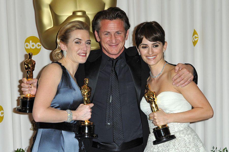 """2009 :Kate Winslet (meilleure actrice pour """"The Reader""""), Sean Penn (meilleur acteur pour """"Harvey Milk"""") et Penelope Cruz (meilleure second rôle dans """"Vicky Cristina Barcelona"""")"""