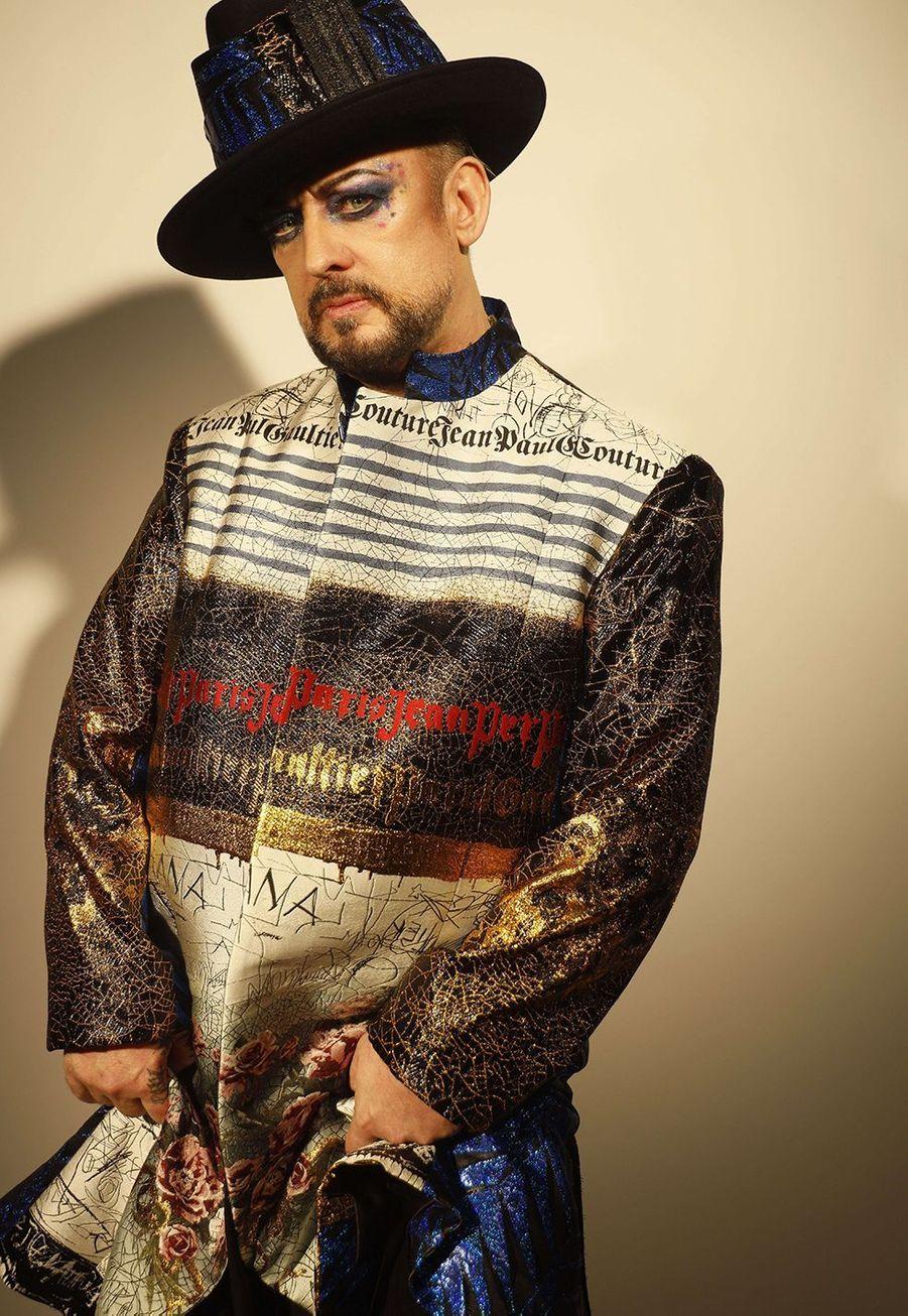 Boy Georgelors du dernier défiléhaute couture de Jean Paul Gaultier auThéâtre du Châtelet mercredi 23 janvier 2020.