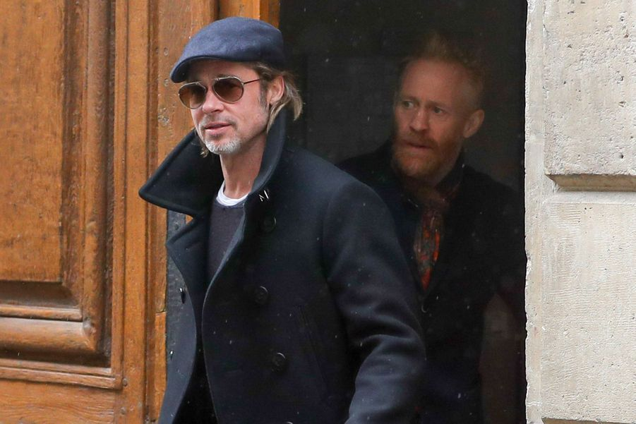 Brad Pitt et Thomas Houseago à Paris, le 13 mars 2019