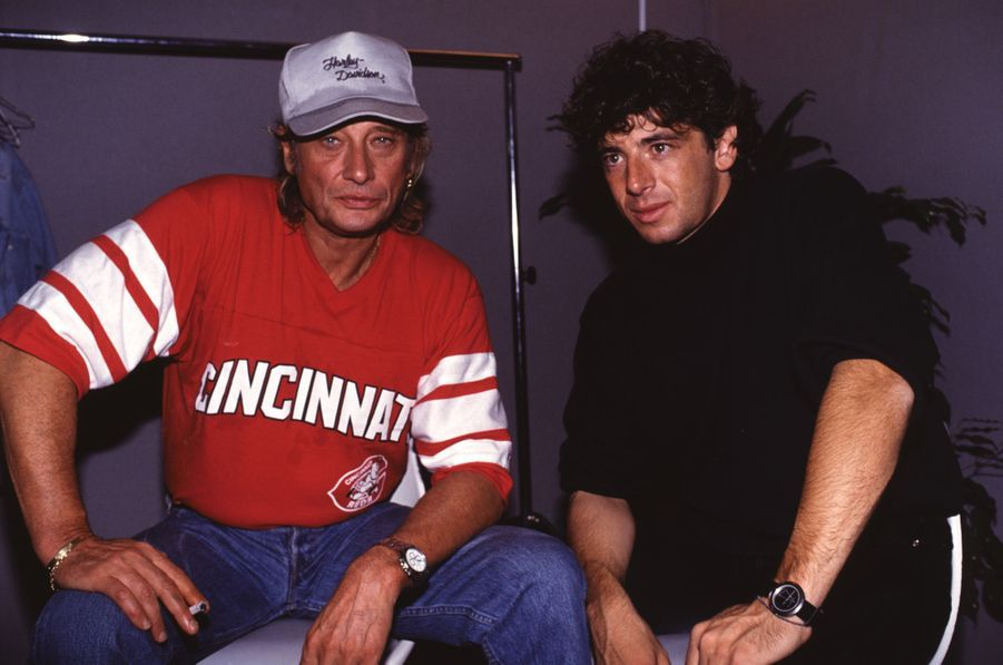 Johnny Hallyday etPatrick Bruel lors du concert Paris-Moscou organisé par NRJ en 1991