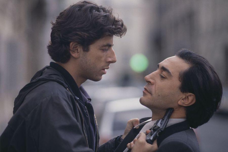 Patrick Bruel et Richard Berry sur le tournage du film «L'union sacrée» en 1989