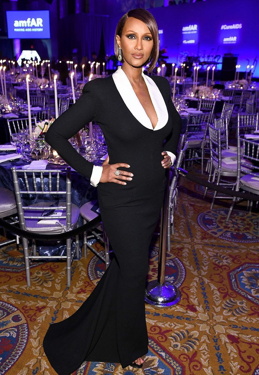 Iman Bowieau gala de l'amfAR à New York le 5 février 2020