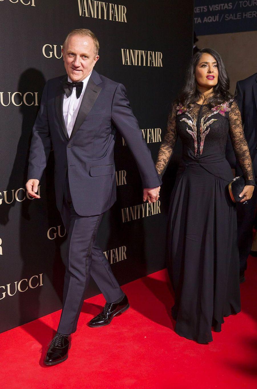 """Salma Hayek et François-Henri Pinault à la soirée """"Vanity Fair"""" à Madrid, en Espagne, mercredi 26 septembre"""