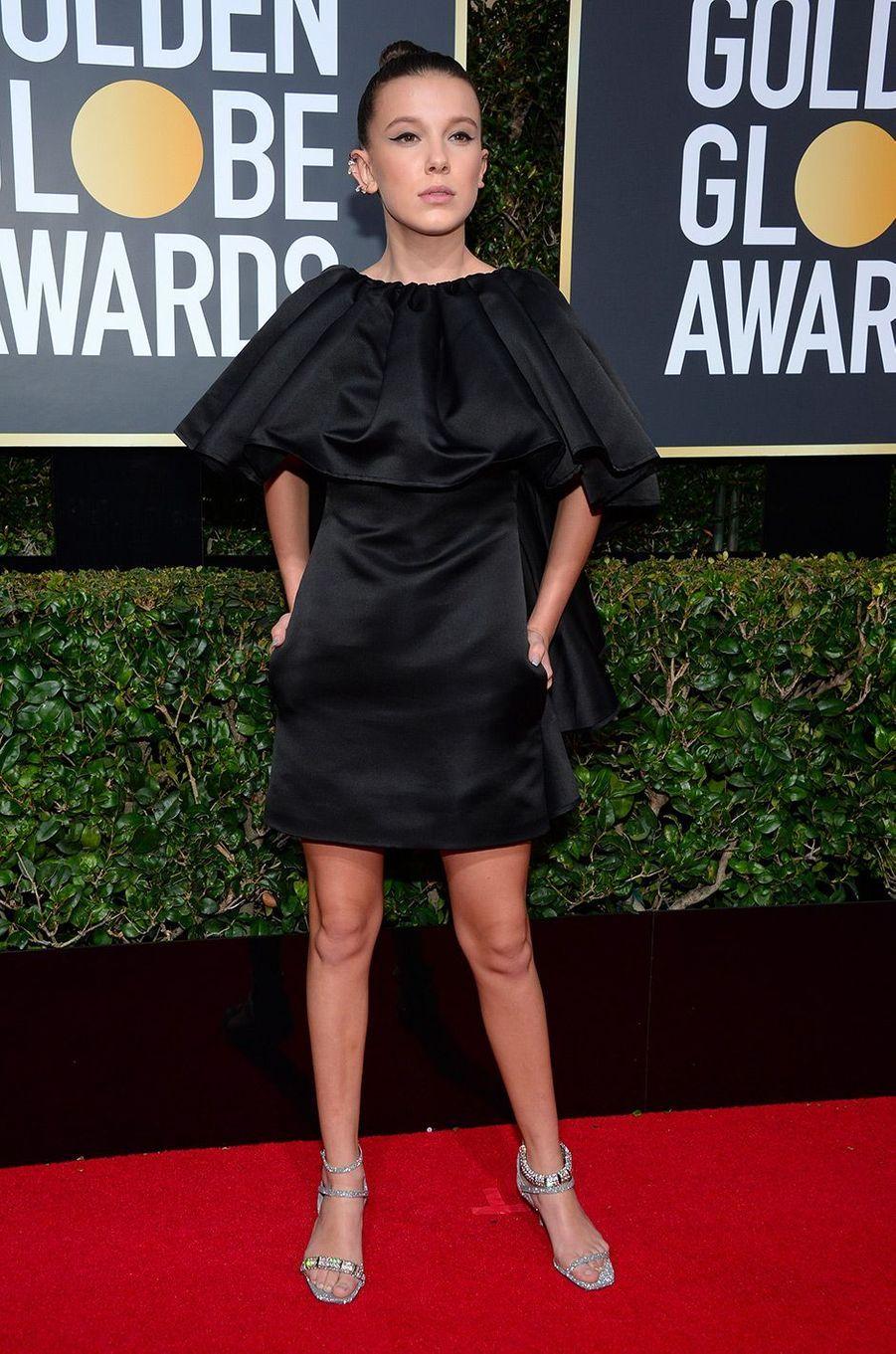 Millie Bobby Brown dans une robe Calvin Klein aux Golden Globes 2018