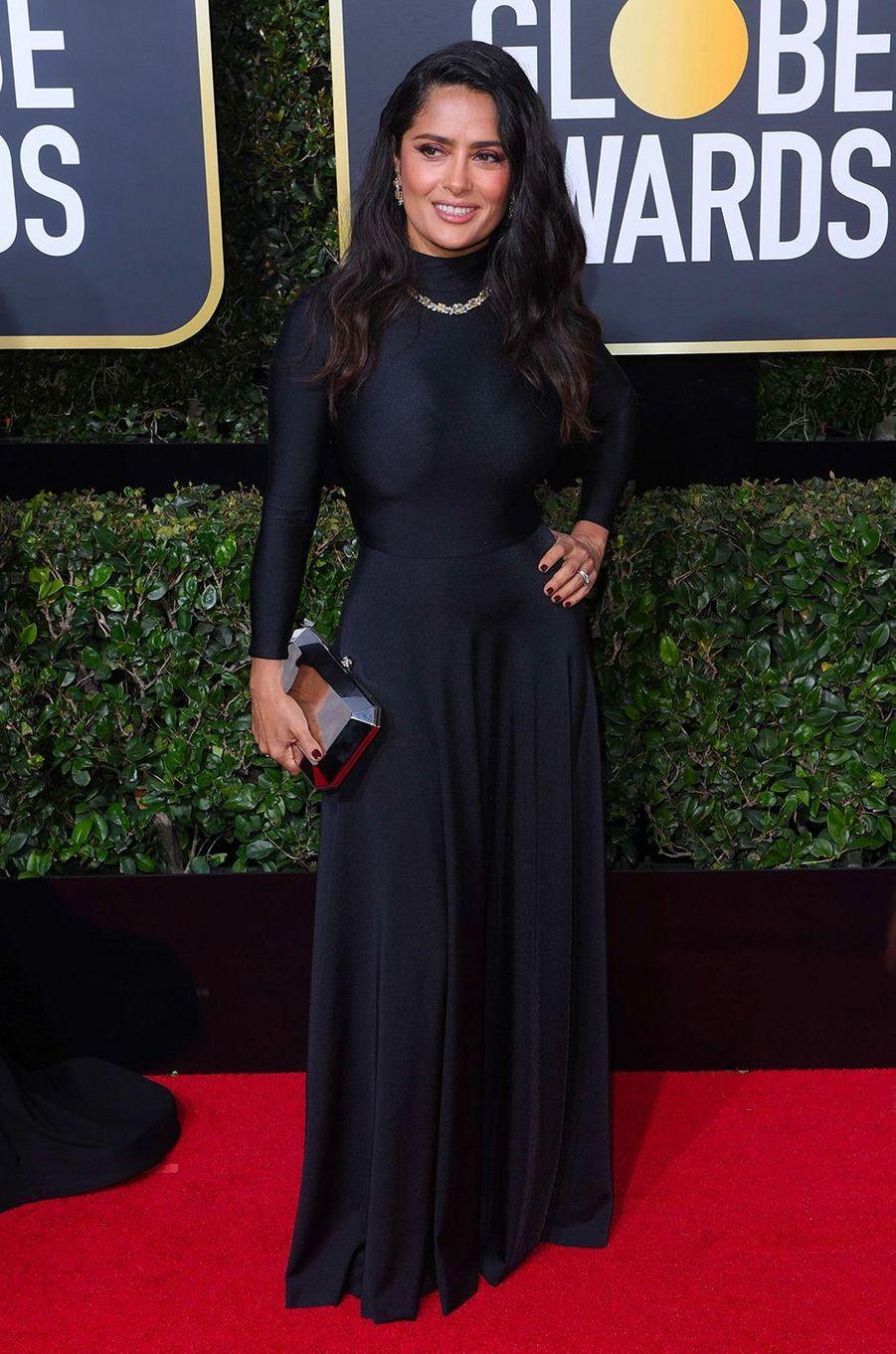 Salma Hayek dans une robe Ralph and Russo aux Golden Globes 2018