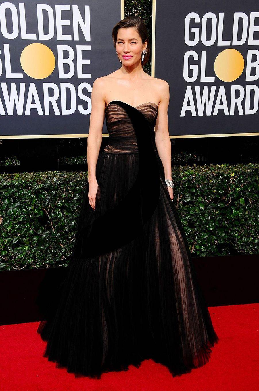 Jessica Biel dans une robe Dior aux Golden Globes 2018