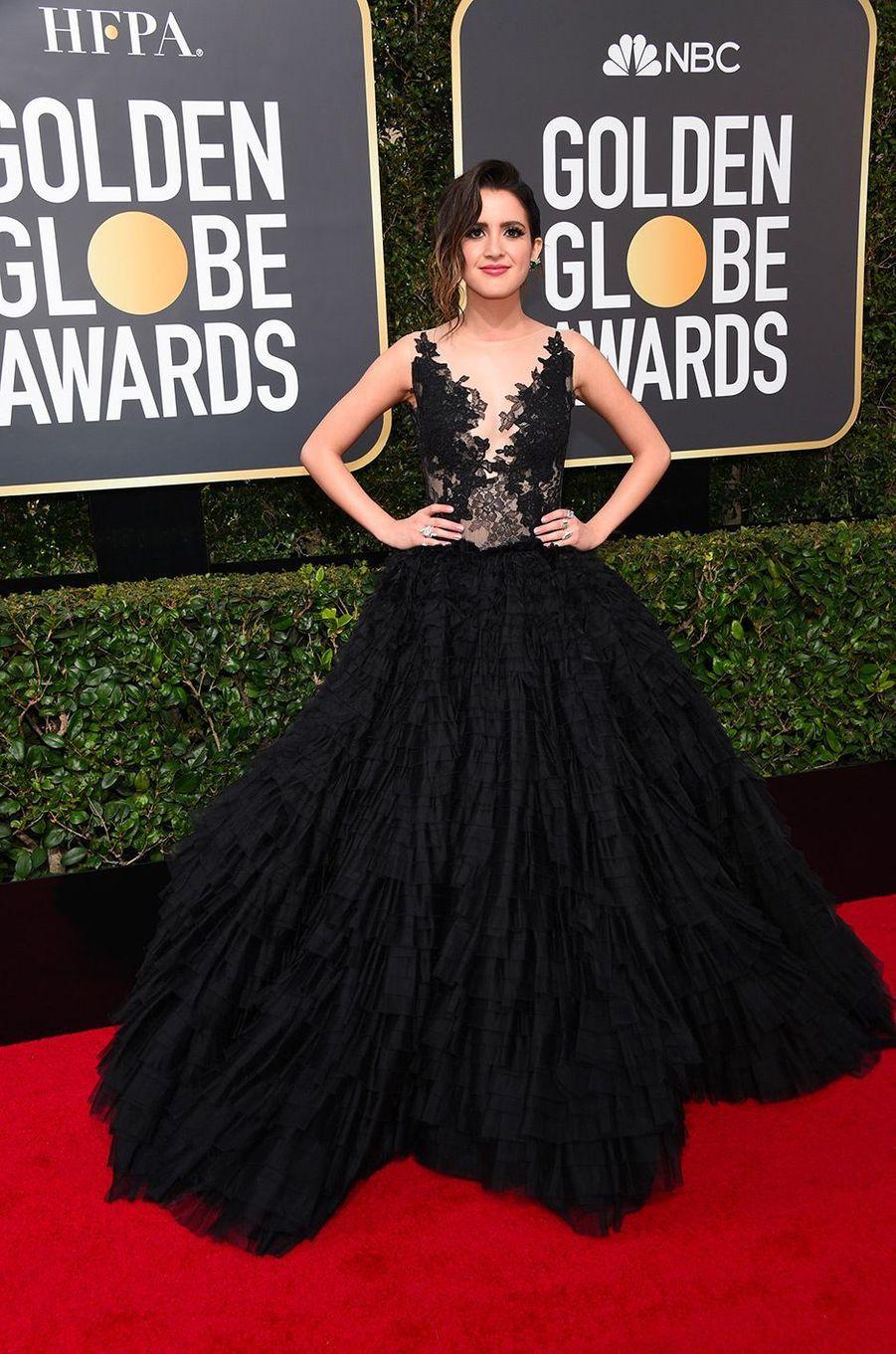 Laura Marano dans une robe Rita Vinieris Couture aux Golden Globes 2018