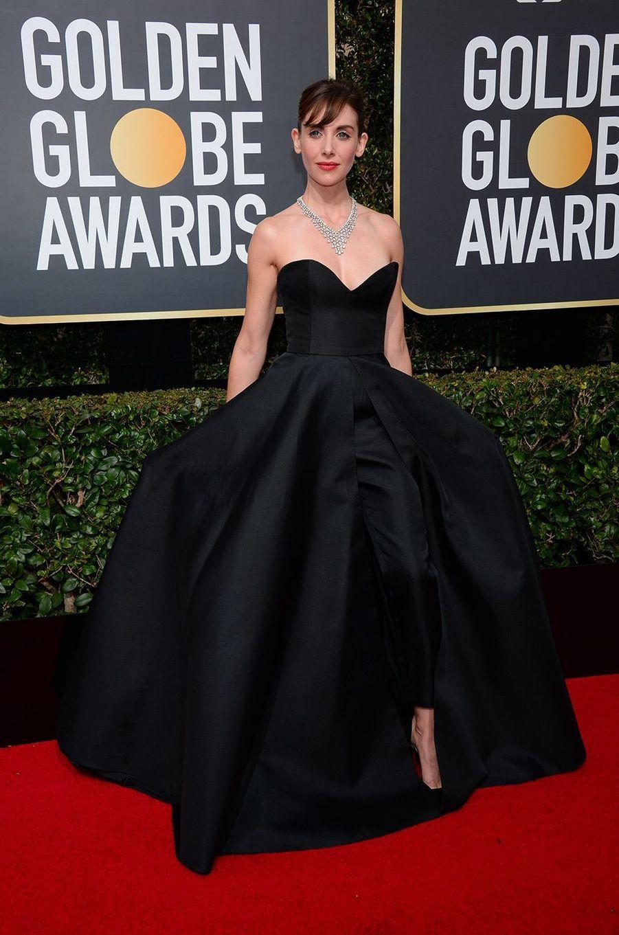 Alison Brie dans une robe Vassilis Zoulias aux Golden Globes 2018