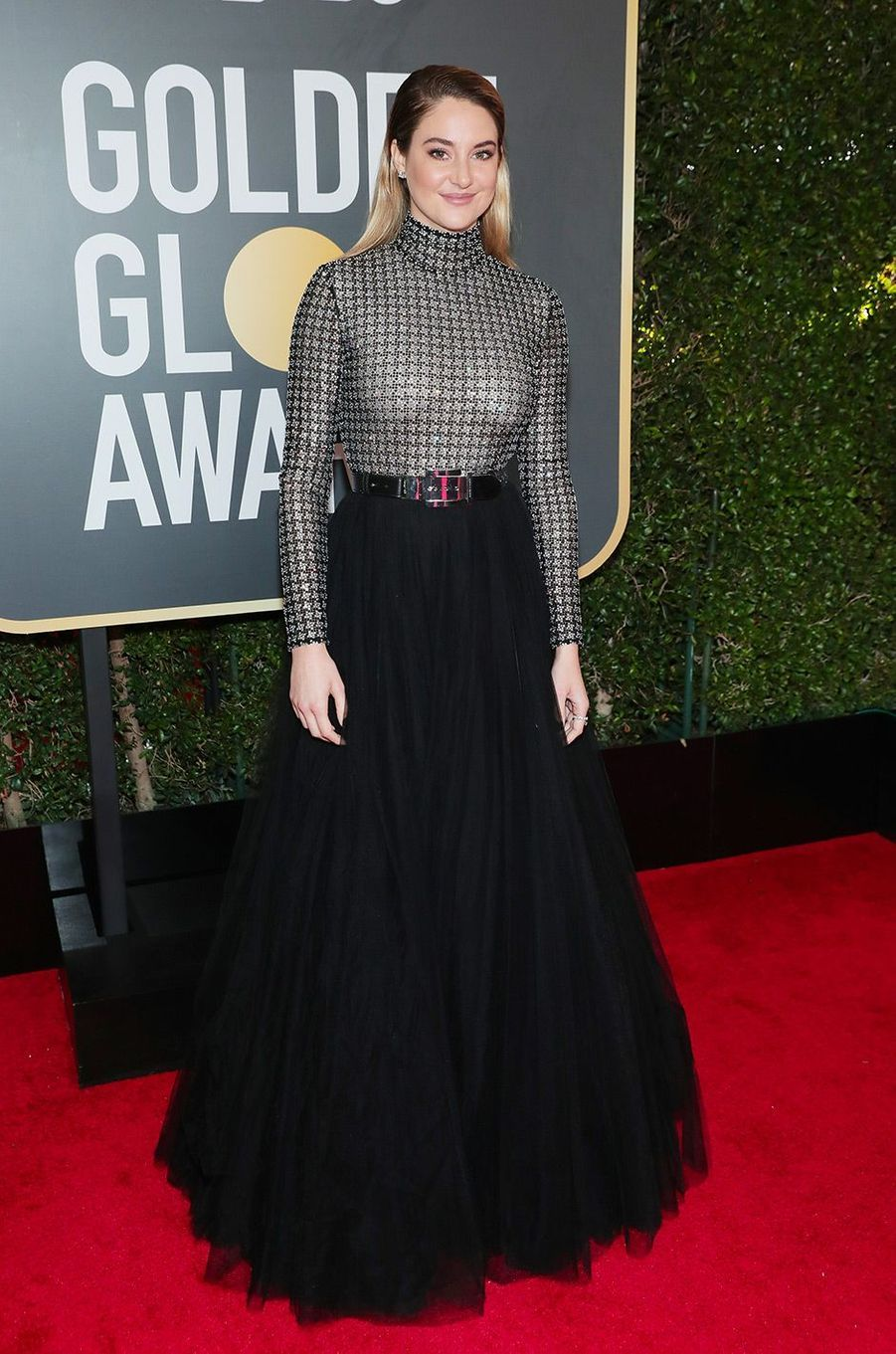 Shailene Woodley dans une robe Ralph Lauren Collection aux Golden Globes 2018