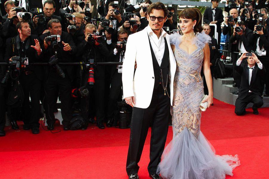 Penélope Cruz avec Johnny Depp au Festival de Cannes en 2011