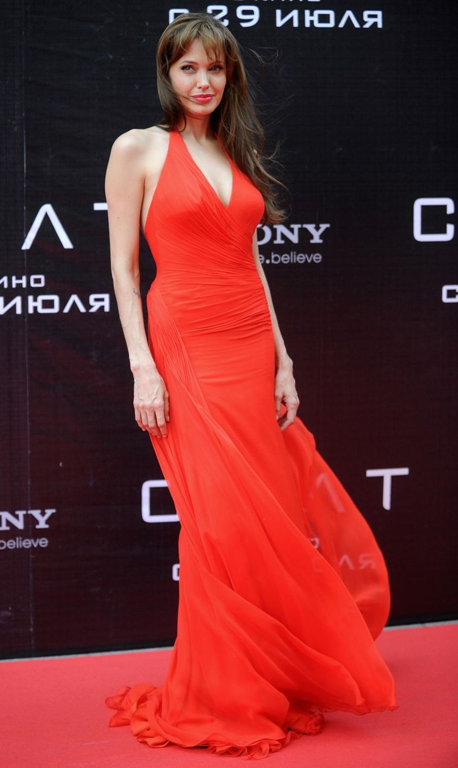 """Angelina Jolie lors de l'avant-première de """"Salt"""" à Moscou, le 25 juillet 2010"""