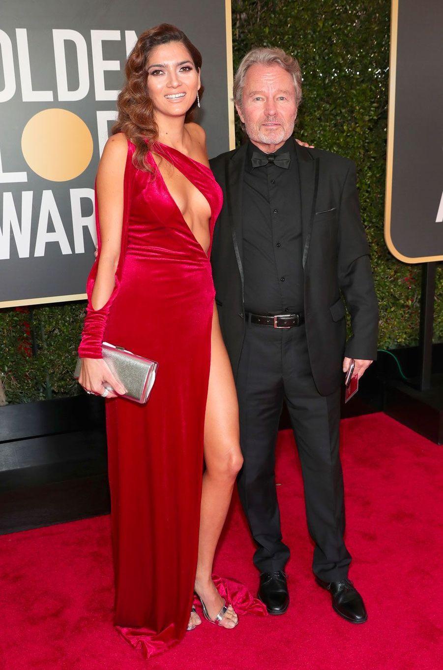 Blanca Blanco et son compagnon John Savage aux Golden Globes