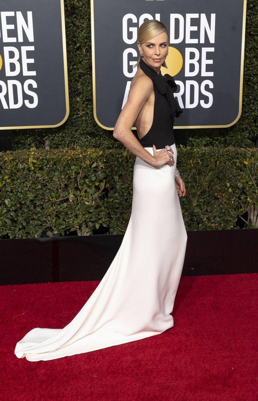 Charlize Theron lors de la 76e cérémonie des Golden Globes à Los Angeles, le 6 janvier 2019