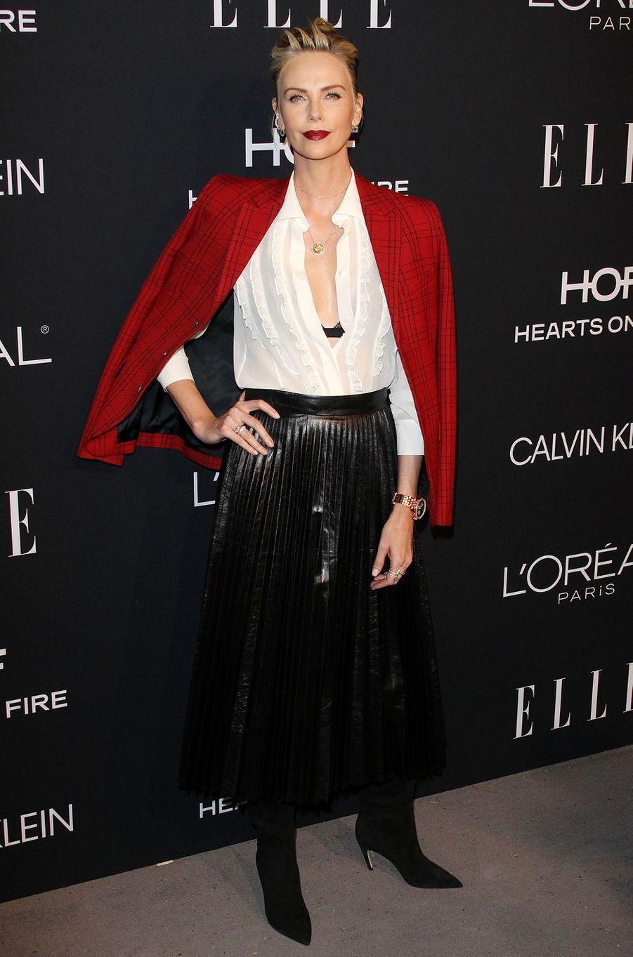 Charlize Theron à la 25e soirée annuelle ELLE Women à l'hôtel Four Seasons à Hollywood, le 15 octobre 2018